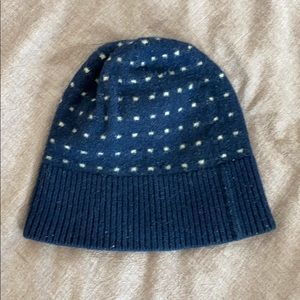 Men's J Crew Wool Beanie Navy with Dots